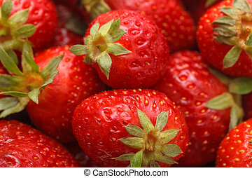 Fresh Strawberries with Green Leaf