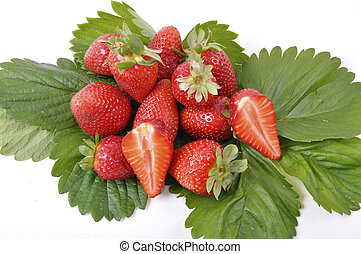 fresh strawberries with leaves and trash