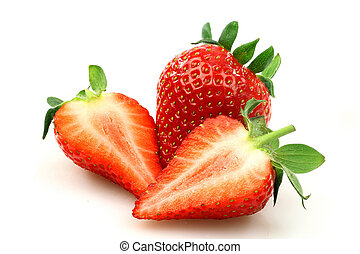 fresh strawberry and two halves on a white background