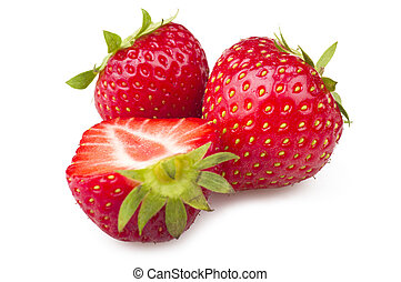 Fresh Strawberry close up on the white