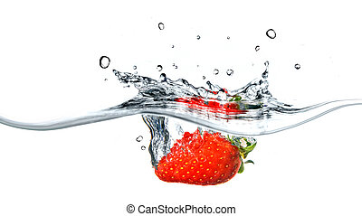 Fresh strawberry dropped into blue water with splash