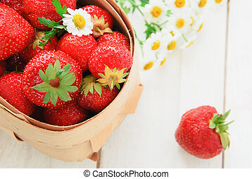 Fresh strawberry in a basket