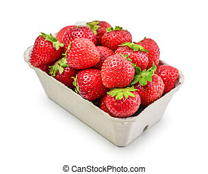 Fresh strawberry in a paper carton isolated on a white background, clipping path included