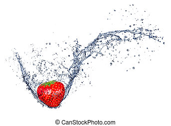 Fresh strawberry in water splash, isolated on white background
