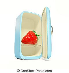 fridge - fresh strawberry inside blue fridge on white