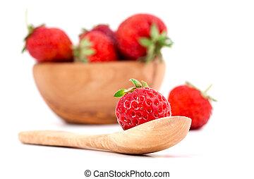 fresh strawberry, isolated on white background.