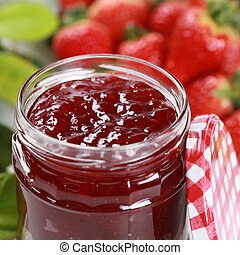 Fresh strawberry jam in a jar - Homemade strawberry jam in a...