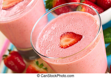 Fresh strawberry milkshake (Selective Focus, Focus on the...