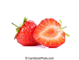 Fresh strawberry on a white background. Close up.
