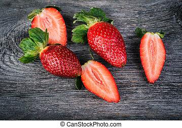 fresh strawberry on wooden background