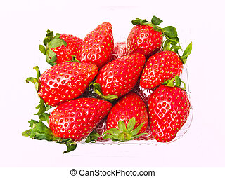 Fresh Strawberry piled in clear plastic box Isolated on white background