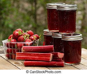 Fresh strawberry rhubarb jelly - Fresh homemade strawberry...