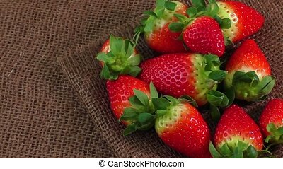 Fresh strawberry - Fresh Strawberry on burlap texture...
