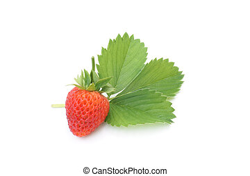 Fresh strawberry with leaf