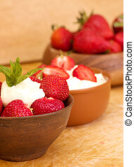 Fresh strawberry with whipped cream