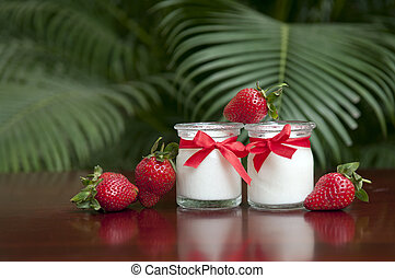 Fresh strawberry yogurt