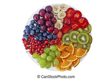 Fresh summer berries and fruits  assortment on the round plate