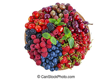 Fresh summer berries assortment on the round plate