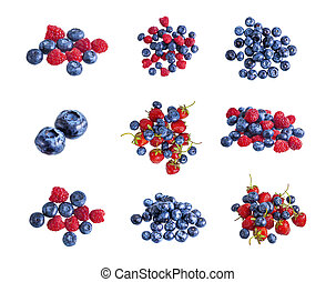 Fresh summer blueberry, raspberry and strawberry heap, isolated