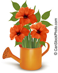 Fresh summer flowers growing in a watering can. Vector.
