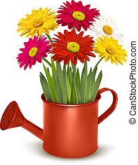 Fresh summer flowers in orange watering can. Vector...