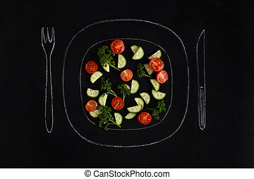 Fresh summer salad on a hand drawn plate with fork and knife...