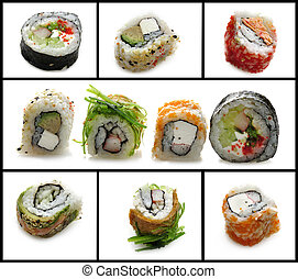 Sushi Assortment - Fresh Sushi Assortment On White...