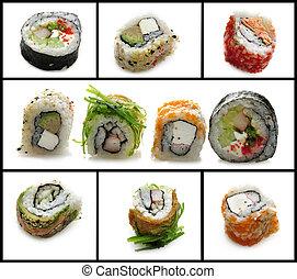 Fresh Sushi Assortment On White Background