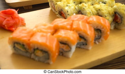 Fresh sushi on the table