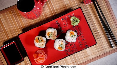 Fresh Sushi Rolls On The Plate