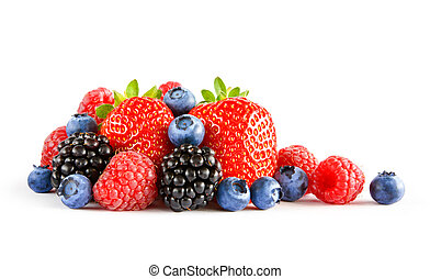 Fresh Sweet Berries on the White Background. Ripe Juicy Strawberry, Raspberry, Blueberry, Blackberry