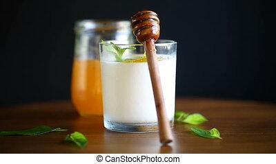 fresh sweet homemade yogurt with honey