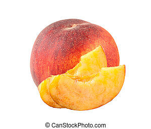 fresh sweet peach and slices isolated on white background