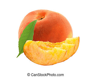 fresh sweet peach with green leaf isolated on white background
