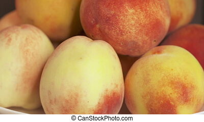 Fresh sweet peaches turning around. Ripe peach fruit...