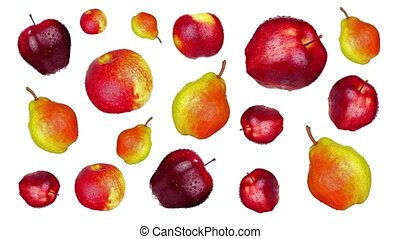 Fresh colorful sweet ripe pears and apples with stems covered with small water drops rotate floating on white background