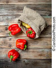 Fresh sweet pepper in the sack.
