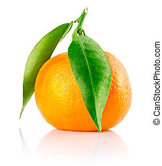 fresh tangerine fruit with green leaves isolated