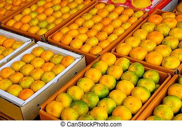Fresh tangerines in a street market