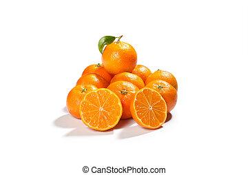fresh tangerines orange isolated on white background