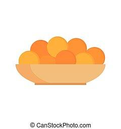 Fresh tangerines oranges on plate vector illustration.