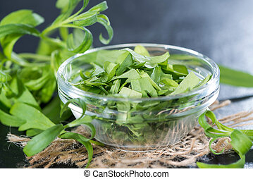 Portion of fresh cutted Tarragon in a small bowl