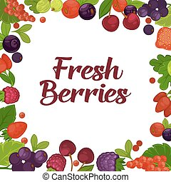 Fresh tasty berries grown on farm promotional poster