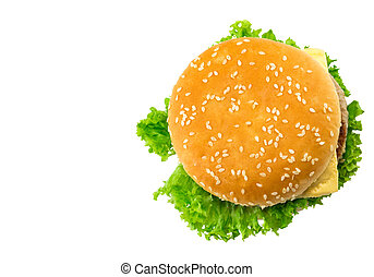 fresh tasty burger isolated on white background. Top view