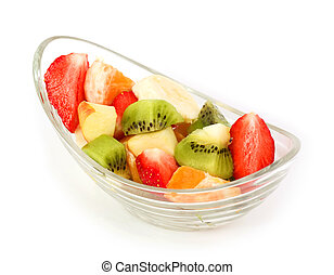 Fresh tasty fruits salad on a white
