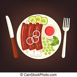 Fresh tasty grilled roasted rib with vegetables cucumber broccoli and red sauce on plate. Cooking meat dish culinary top view concept. Vector flat graphic design cartoon illustration