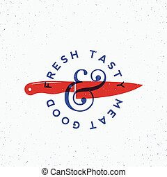 Fresh Tasty Meat Vintage Vector Label, Card, Emblem or Logo Template. Blue and Red Colors. Steak Silhouette with Knives and Fire and Retro Typography. Shabby Textures.