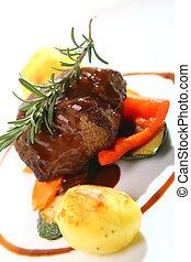 Restaurant fresh tasty meat with gourmet garnish