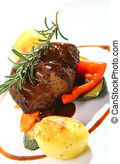 Fresh tasty meat with gourmet garnish - Restaurant fresh...