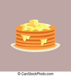 Fresh tasty pancakes with butter on a plate, traditional breakfast food vector Illustration